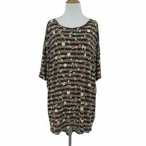 Lularoe Irma Tunic Top Abstract Short Sleeve Shirt
